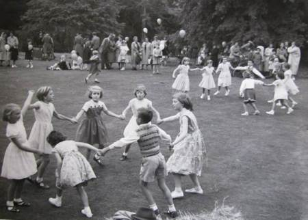 School children dancing at a Clyffe Hall based fête in about 1960