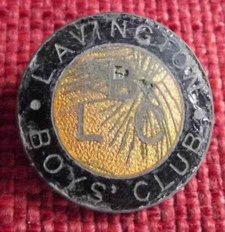 Lavington Boys' Club badge found on the old Recreation Ground