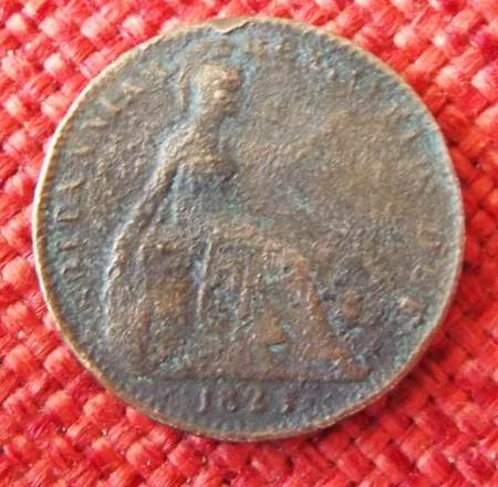 Reverse of 1823 penny found on the old Recreation Ground in Market Lavington