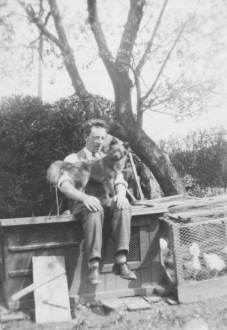 Bill Elisha of Market Lavington with dog and poultry