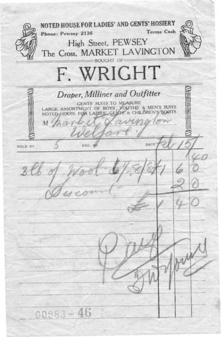 Receipt issued by F Wright of The Cross, Market Lavington