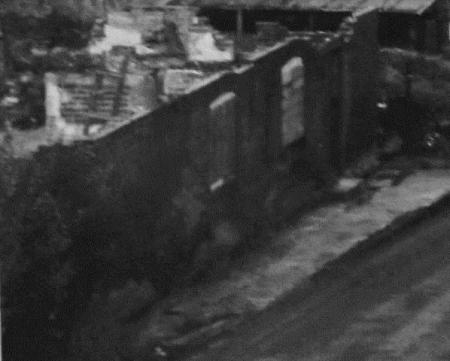 Demolished cottge remains on the side of Northbrook