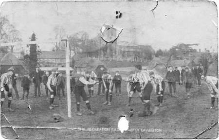 Football on the old rec - an Edwardian postcard