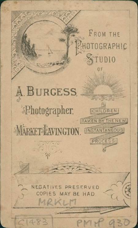 A Burgess carte de visite - the back