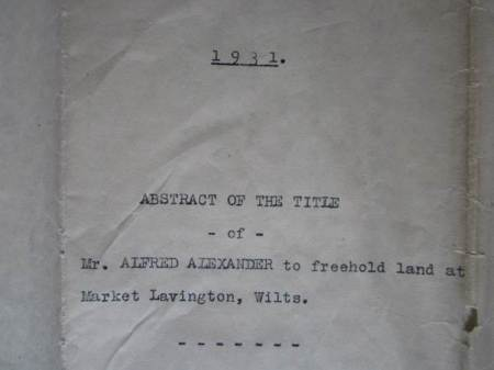 Document showing Alfred Alexander owns land in 1931