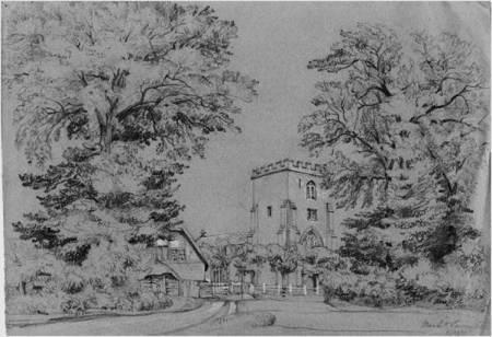 Market Lavington Church - a sketch by Philip Wynell Mayow drawn in 1837