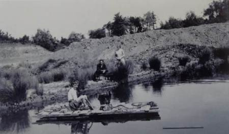 Tom George on a claypit raft in 1931