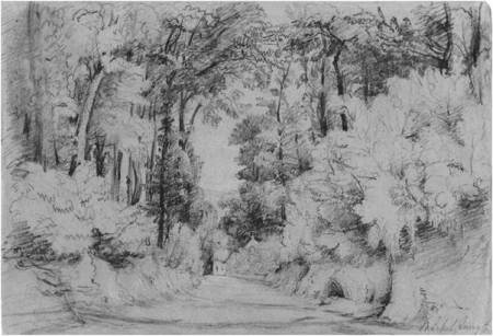 Sketch by Philip Wynell Mayow - believed to be of Parsonage Lane and drawn in about 1837