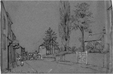 Market Lavington High Street in 1837 - a sketch by Philip Wynell Mayow