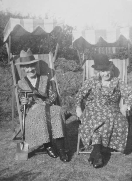 Mary Davidge and Louisa Hibberd in Market Lavington - possibly 1920s