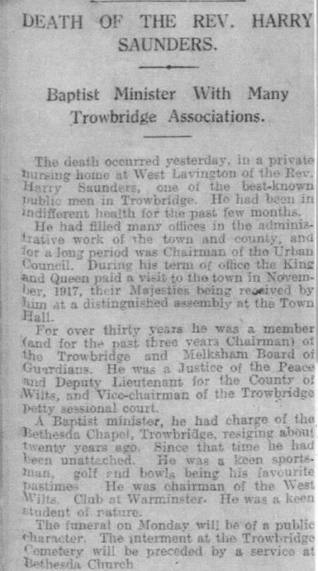 Obituary for Harry (with errors) from the Western Daily Press