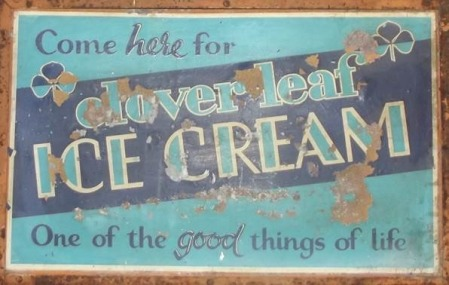 Advert for Clover Leaf Ice Cream from Harry Hobbs' shop in Market Lavington