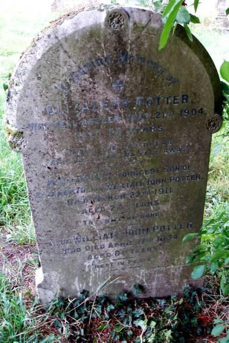 Grave of William and Elizabeth Potter in Market Lavington churchyard