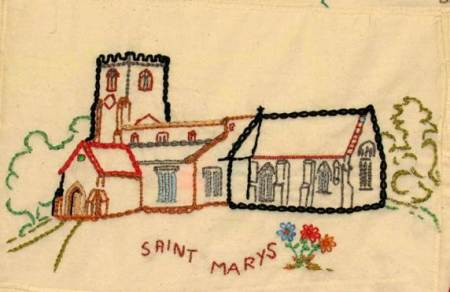 The church in the Millennium Wall Hanging in the Community Hall - Artist unknown