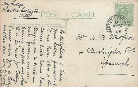 Back of the card, sent to Mrs H B Strofton