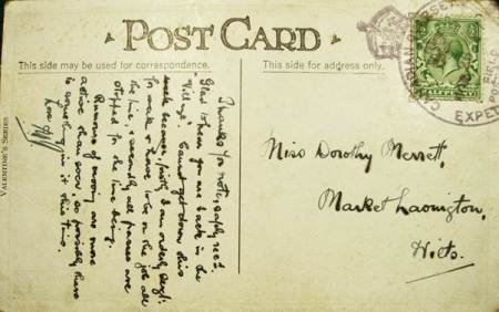Card sent to Dorothy Merritt of Market Lavington by a Canadian soldier