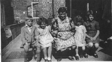 Mrs Drury and evacuees during World War II