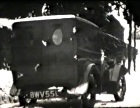 Butcher's van in the snow in the 1930s