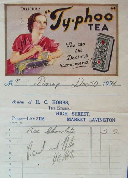 A 1939 bill issued by Harry Hobbs of The Stores, Market Lavington