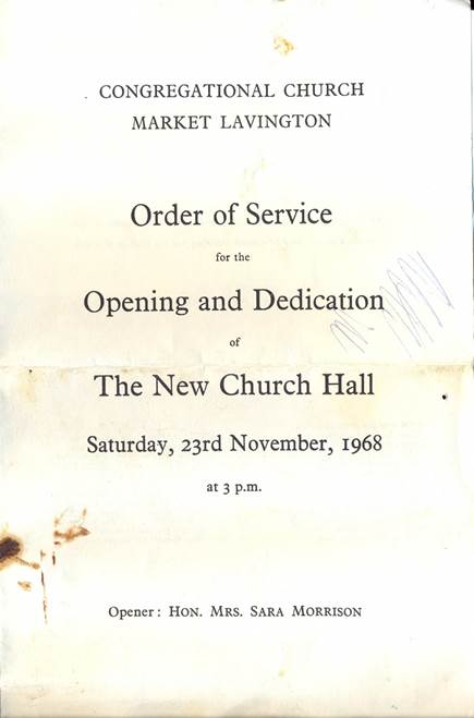 Front page of the order of service for the opening and dedication of the new church hall in 1968