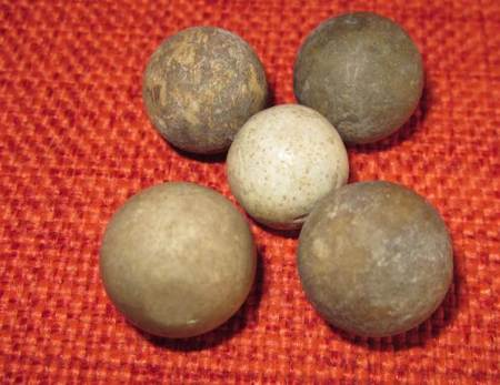 Clay marbles found under the floorboards at 21 Church Street