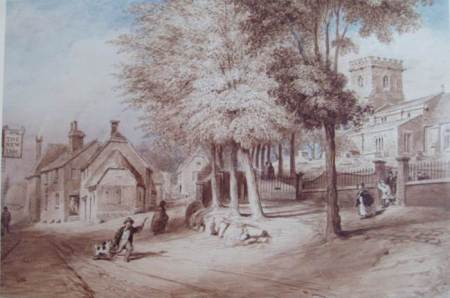 Church Street in 1850 - from a watercolour by Owen Carter
