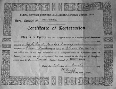 Slaughter-house license for Mr Doubleday's premises - 1925