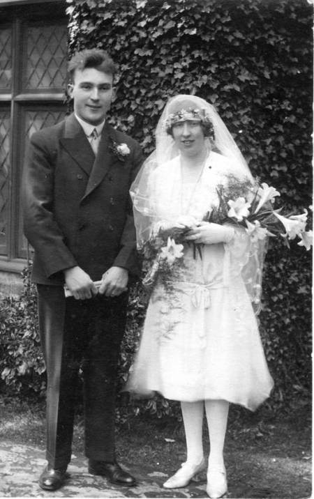 Fred Sayer and jess Trotter in their wedding finery in 1929