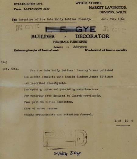 Funeral bill for Emily Letitae Pomeroy 1963/64