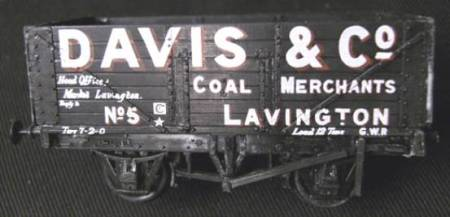 OO gauge Davis and Co of Market Lavington coal wagon