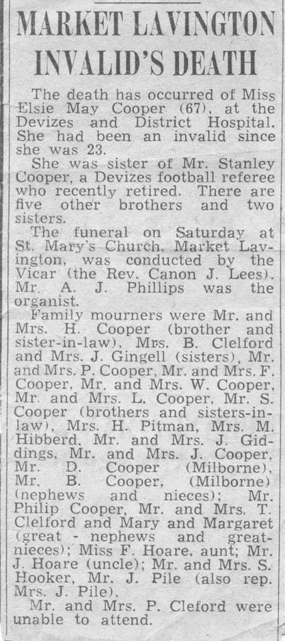 1964 news item about Elsie Cooper's death and funeral