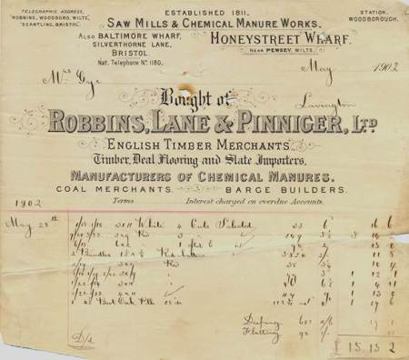 Bill to Gyes from the Honeystreet sawmill in 1902
