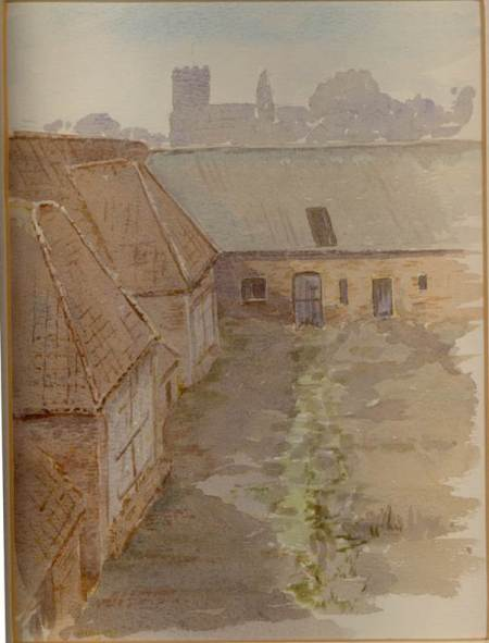 Knapp Farm barns - a watercolour image