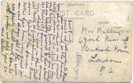 Card to Mrs Mullings of Kentish Town