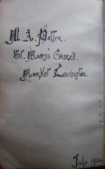 It belonged to M A Potter