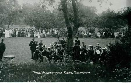 rket Lavington Prize Silver Band entertain at Edington Monastery Gardens in about 1912