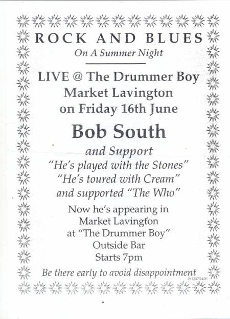 Poster for live music at The Drummer Boy in 2006