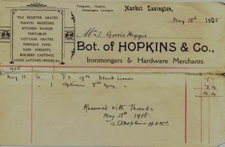 Hopkins Bill - 18th May 1908