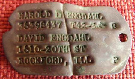 Military dog tag for Harold D Engdahl. It dates from World War Two