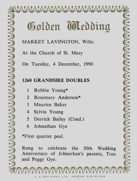 Commemorating the quarter peal rung for the Golden Wedding of Tom and Peggy Gye