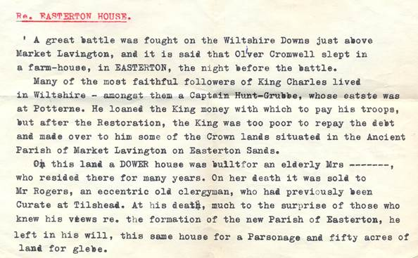 Document about Easterton House which refers to a possible civil war incident in the Market Lavington area.