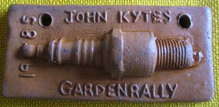 Plaque for John Kyte's Garden Rally - 1985