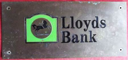 Sign from Lloyds Bank, Market Lavington branch which closed in 1996