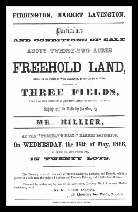 Auction catalogue page for land at Fiddington