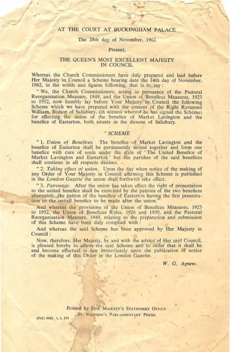 Document setting out the formation of the combined benefice of Market Lavington and Easterton