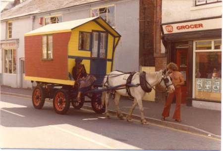 People enjoying a travelling lifestyle on Church Street, Market Lavington in the early 1970s