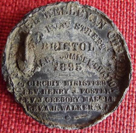 The medallion commemorates the centenary of the Ebenezer Wesleyan Chapel , Bristol in 1895