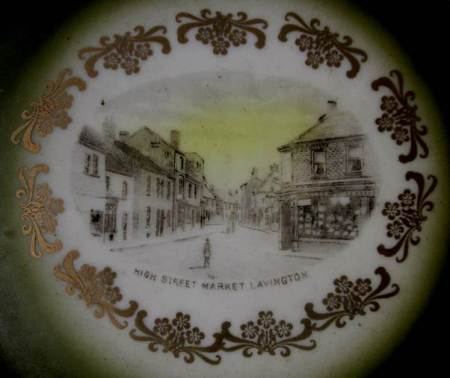 The image on the plate looks along High Street, Market Lavington
