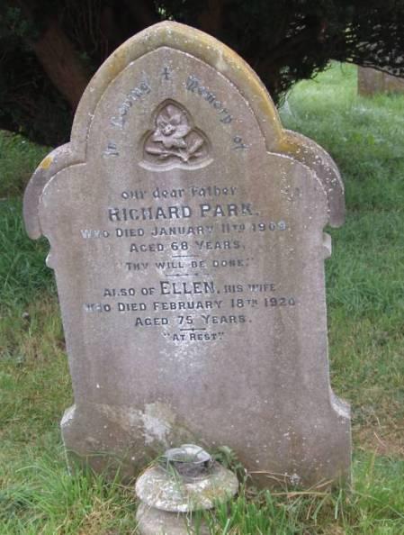 Grave of Richard and Ellen Park in Market Lavington churchyard