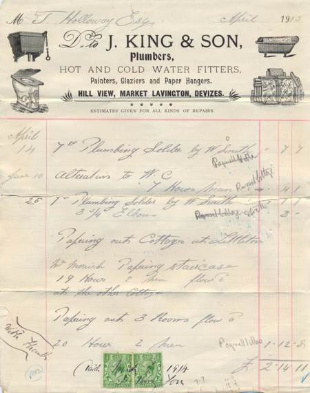 J King bill for services rendered in 1913